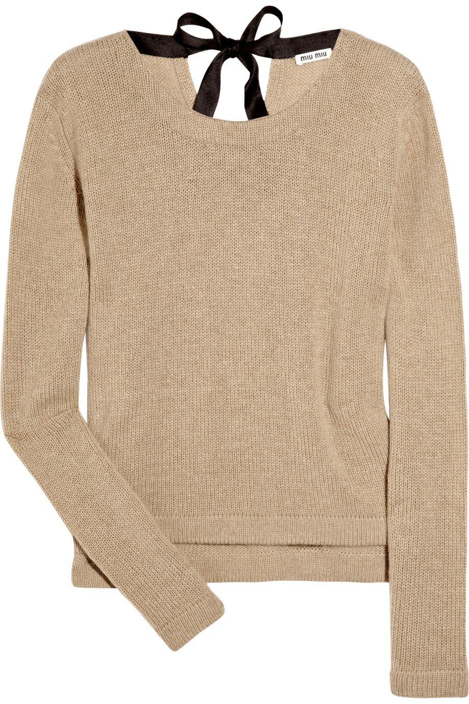 Miu Miu bow-back cashmere knitted sweater
