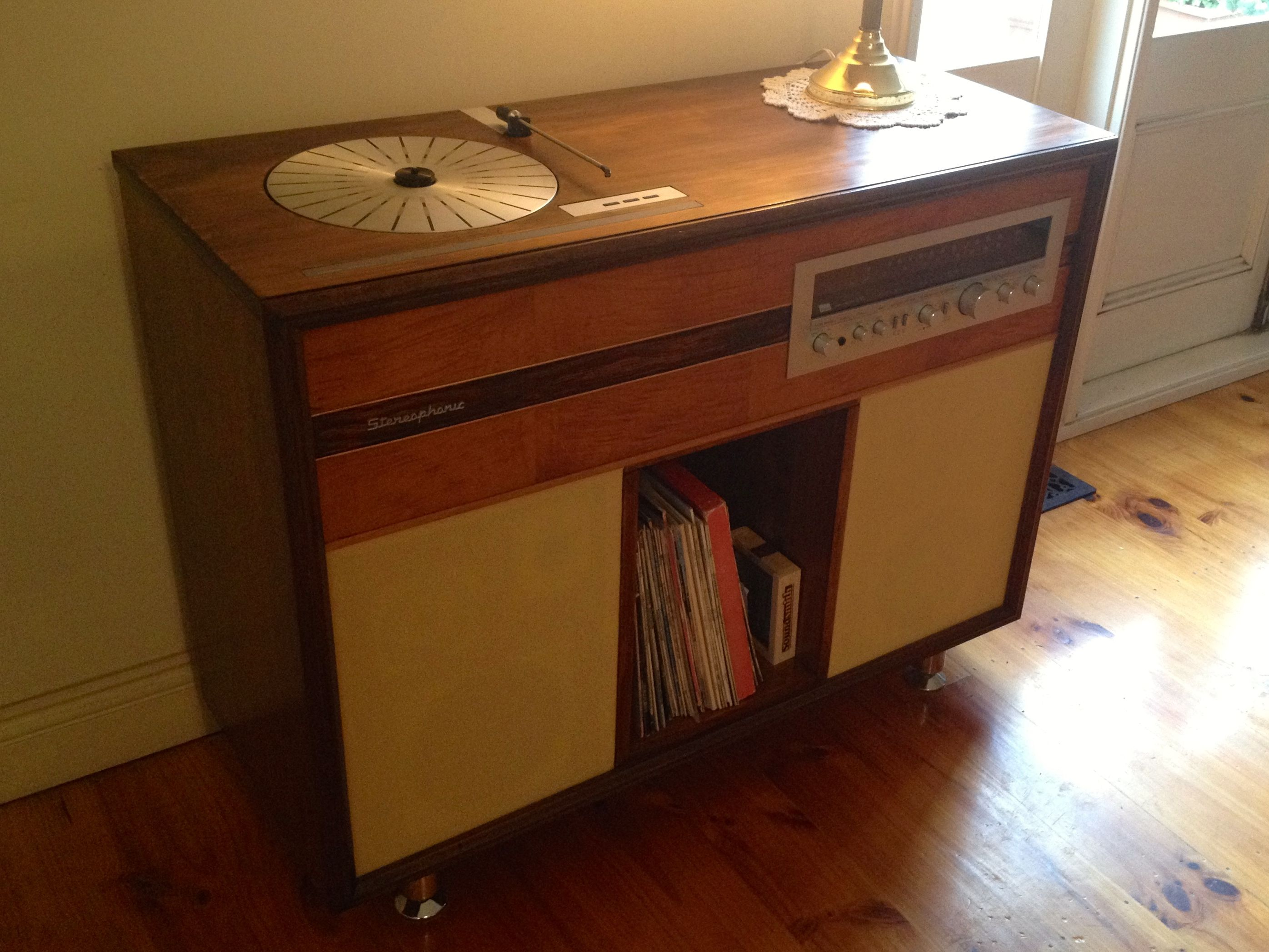 Good Re Styled 1960u0027s Stereo Cabinet, B+O Turntable, Sansui Tuner Amp