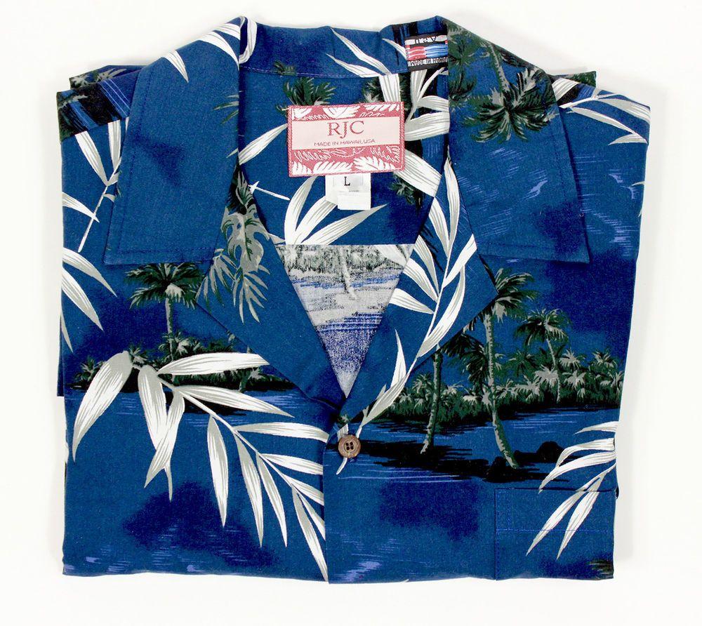 RJC Mens L Hawaiian Shirt Bamboo Tropical Islands Palm Trees Blue Cotton Camp #RJC #Hawaiian