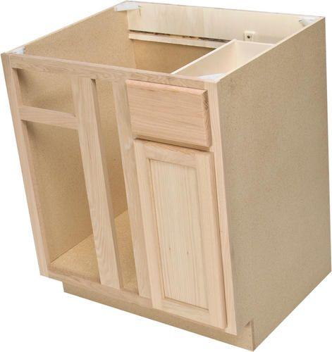"Menards Kitchen Cabinets Unfinished: Quality One 36"" X 34-1/2"" Unfinished Oak Blind Corner Base"