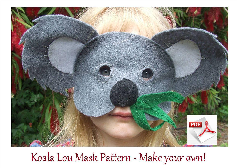 Koala Lou Mask Pattern Make Your Own Cute Furry Comfortable Childrens FREE POST 400 Via Etsy