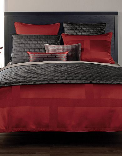I Love Grey And Red Beddings