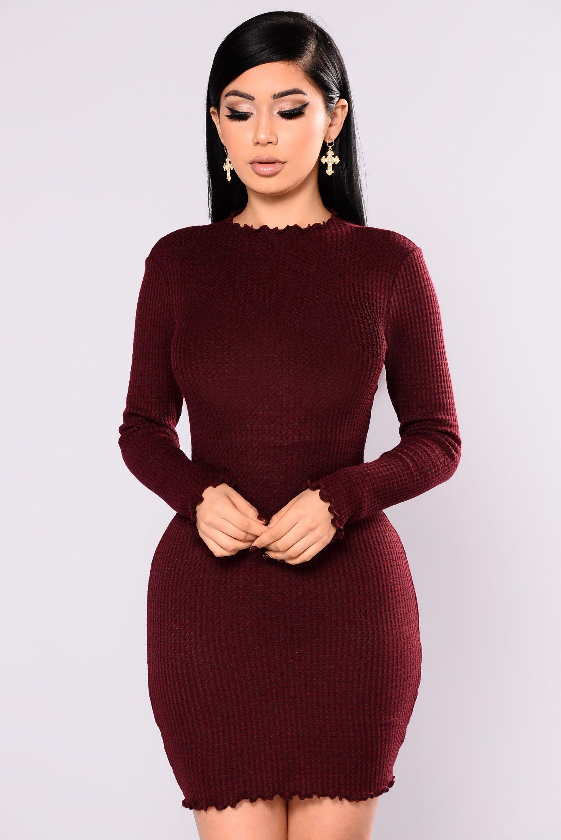 Feels So Good Knit Dress Burgundy Knit Dress Work Dresses For Women Dresses [ 2870 x 1919 Pixel ]