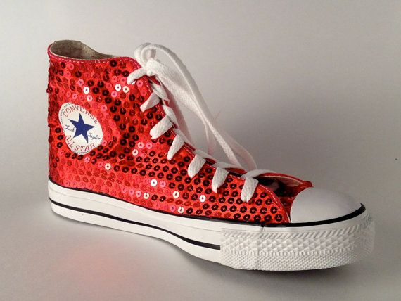 Sequin - Hand Sparkled Red Canvas Converse Hi Top Sneakers Shoes