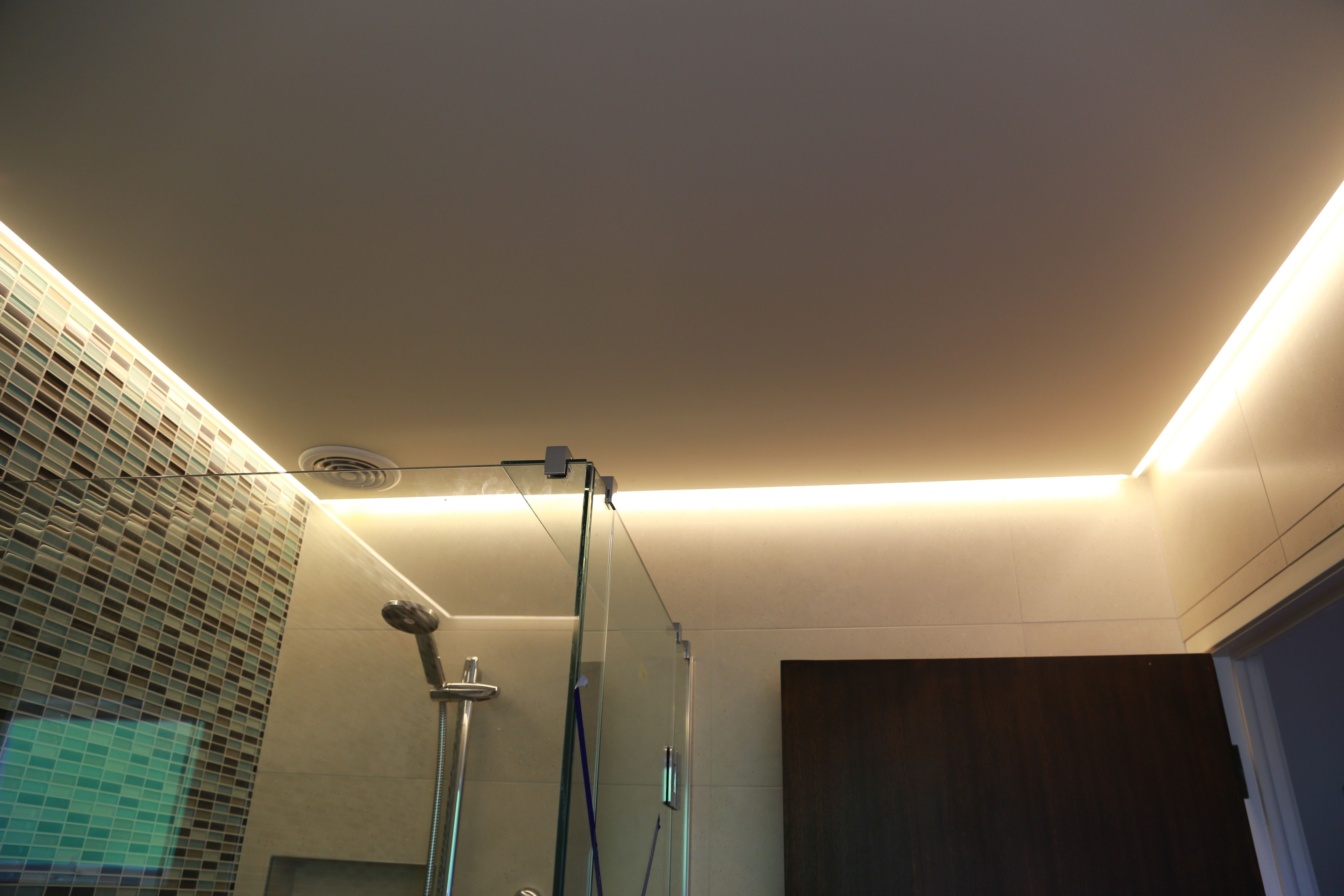 Bathroom Light Fixtures Used led strip in bathroom ceiling. it used as main light. | our led