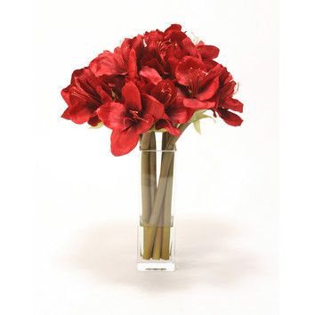 I bought this from Wayfair Xmas 2013 and it is gorgeous! I love it! Distinctive Designs Silk Amaryllis in Tall Square Vase
