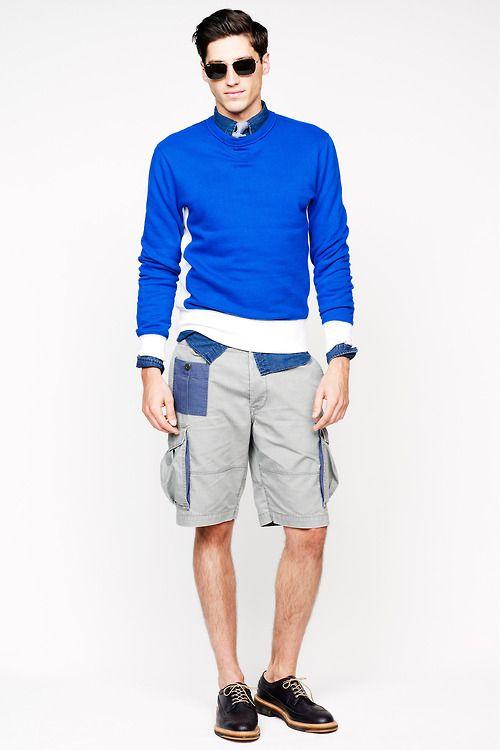 Men's Blue Crew-neck Sweater, Navy Denim Shirt, Grey Shorts, Black ...