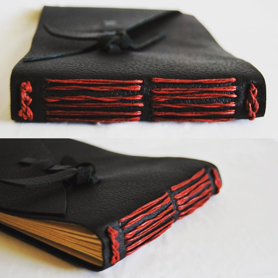 Black and Red Wrap Leather Journal / Sketchbook. Perfect place for whatever comes to mind.  Etsy.com - 4LoveandArt  #blackandred #wrapjournal #leatherstitching #leatherjournal #4LoveandArt #4loveandart #handstitched #handcrafted #bookbinding #bookmaking #journal #sketchbook #sketch #coptic #copticstitching