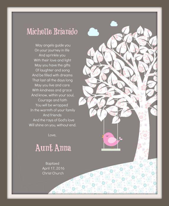 Regalo Para Ahijada.Fingerprint Tree Watercolor Prints Baptism Gift For