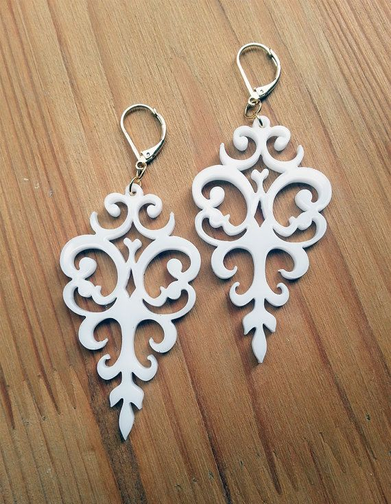 White Acrylic Laser Cut Earrings Statement Jewelry Victorian Motifs