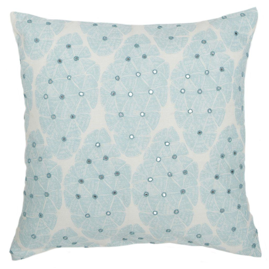 Linen Decorative Pillow With Floral Embroidery In Sky Blue In 2020 Pillow Design Linen Throw Pillow Pillows