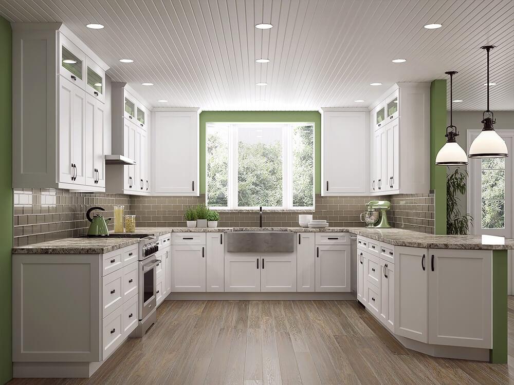 Frosted White Shaker Kitchen Cabinets #whiteshakercabinets
