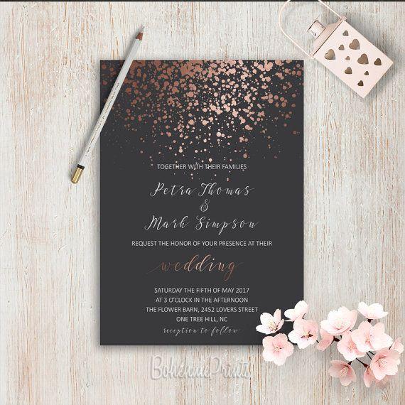 Elegant Wedding Invitations Simple Wedding Invitation Rose Gold Grey