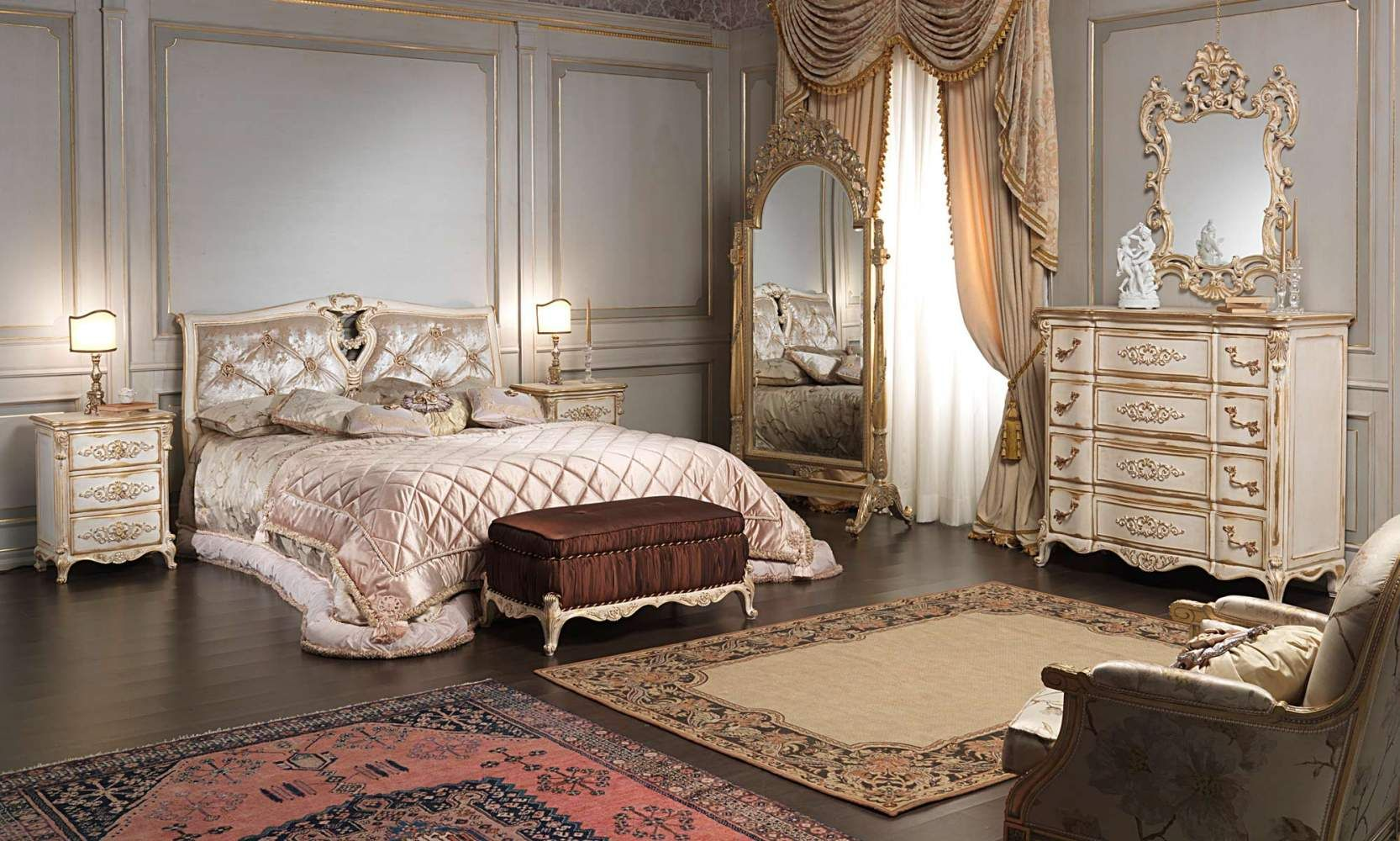 Clic Louis Xvi Bedroom Bed Padded Bench Chest Of