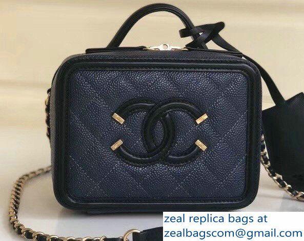 cdd33d3dccf5 Chanel CC Filigree Grained Vanity Case Bag Mini Navy Blue/Black ...