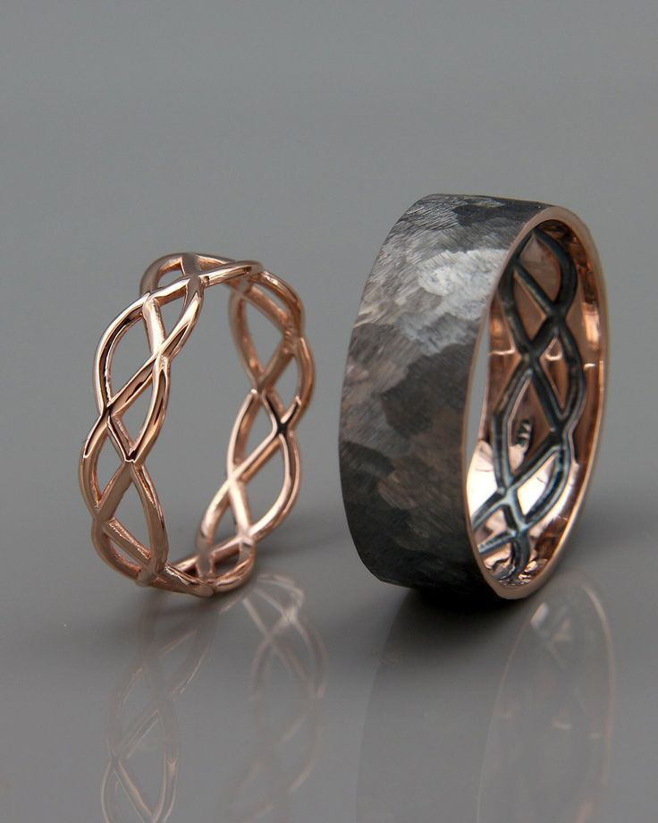 Good Screen 14K Rose Gold Black and Bright Celtic Wedding Rings Set | Handmade 14k rose gold...  Th