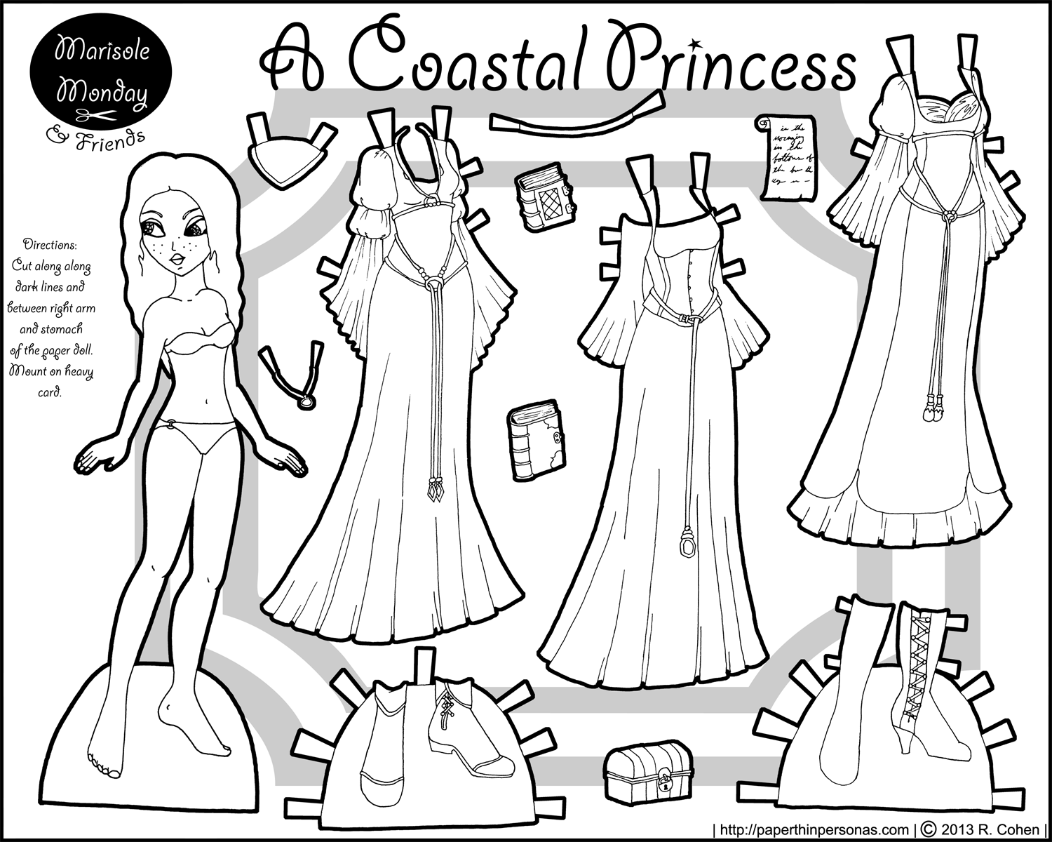 marisole monday coastal princess dolls printable paper and