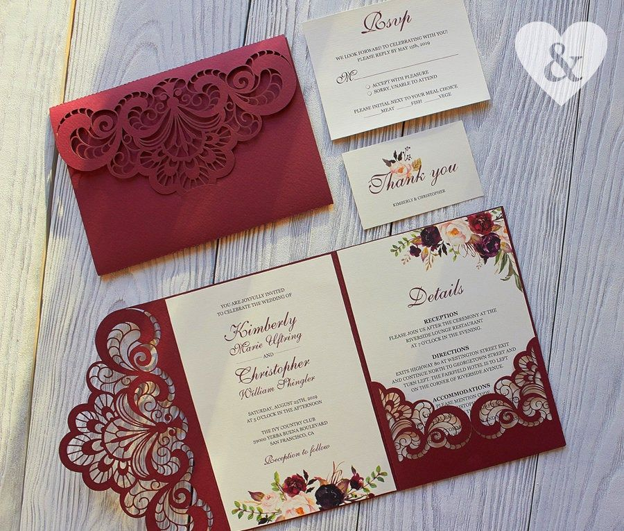 Burgundy Pocket Wedding Invitation Kit Burgundy Wedding Image 1 Wedding Invitation Kits Marsala Wedding Invitation Pocket Wedding Invitations