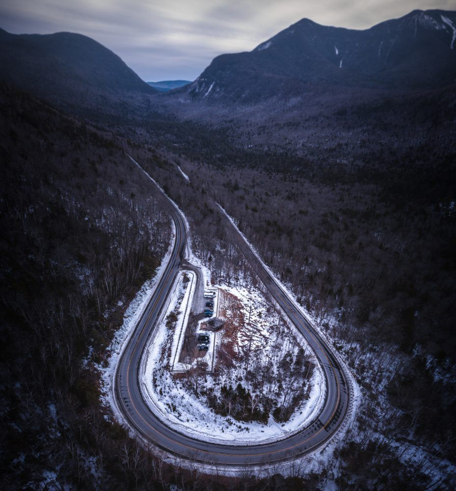 Dark Hairpin This Is The Famous Hairpin Along The Incredibly Scenic Kancamagus Highway In The White Mountains Of Nh White Mountains Scenic Aerial