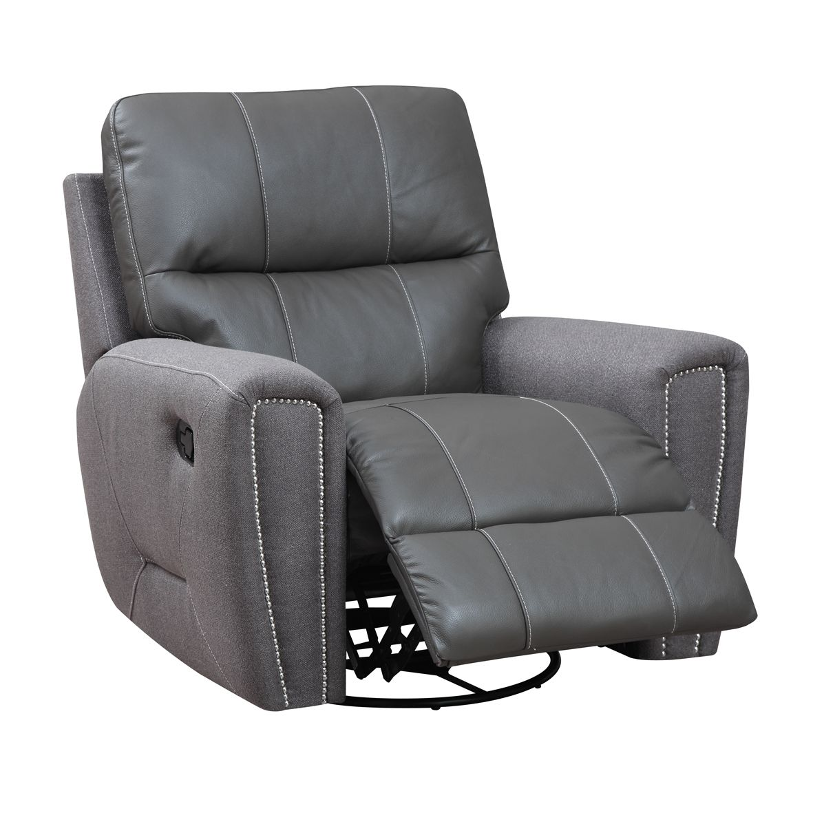Fashionable Recliners Emerald Grey Leather And Microfiber Swivel Glider Recliner.