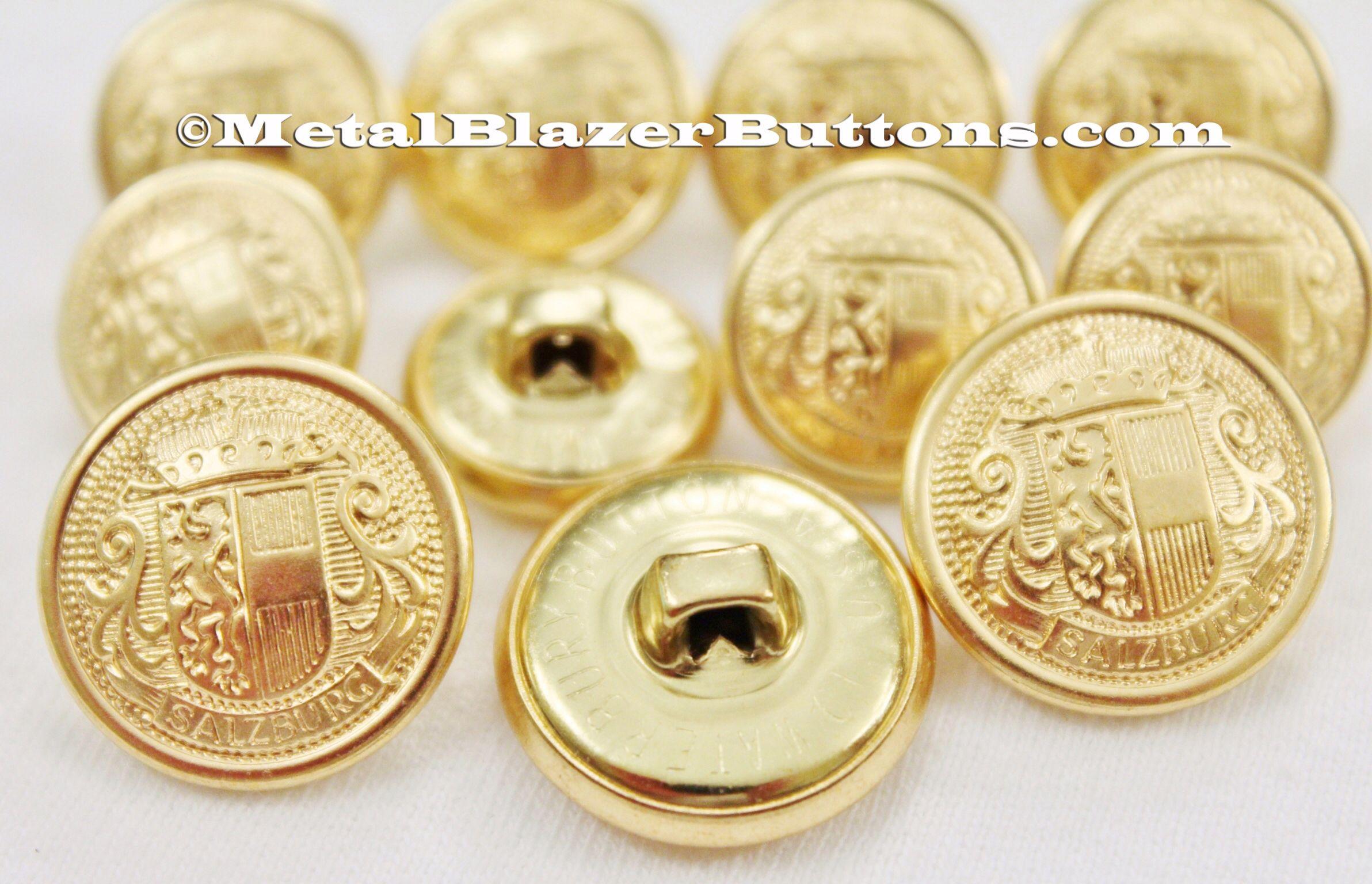Blazer Sport Coat 11 Antique Gold Shank Military Buttons Set for Suit Jackets