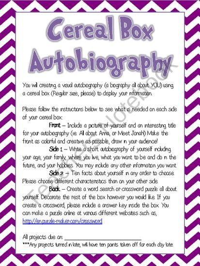 Cereal Box Autobiography Project Handout My Classroom - sample cereal box book report template