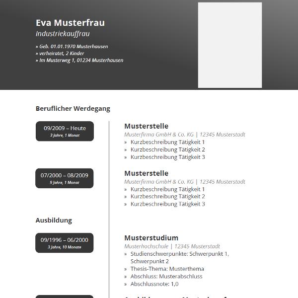 elegant cv template elegantes muster fr den lebenslauf mit dunkelgrauem farbverlauf in tabellarischer - Mustervorlage Lebenslauf