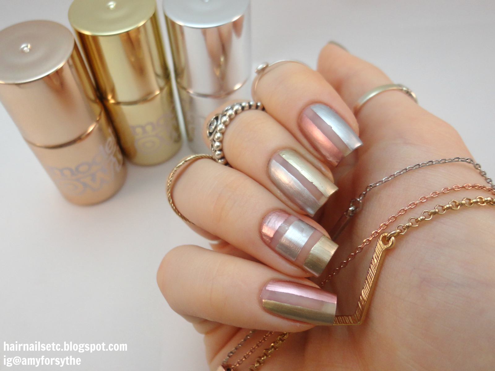 Negative E Nail Art With Models Own Colour Chromes Gold Silver And Rose