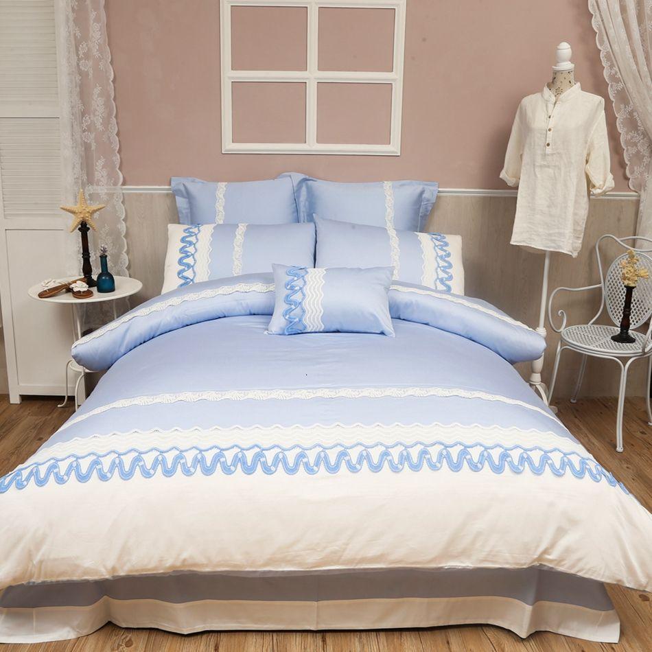 Light Blue Duvet Cover Set Queen King Size Bedding Set,100% Egyptian Cotton  Adults