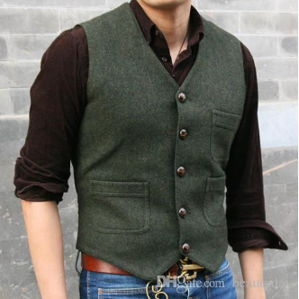 2019 Latest Farm Wedding Wool Vests Gray Groom Vest Slim Fit Mens Suit Vest Prom Wedding Waistcoat Dress Plus Size #men'ssuits