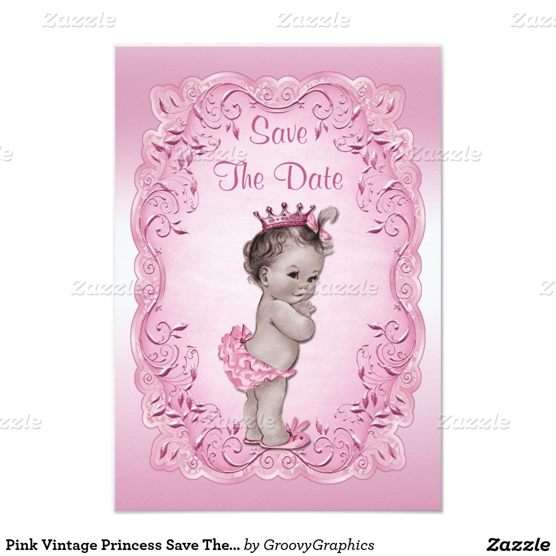 Pink Vintage Princess Save The Date Baby Shower | baby ...