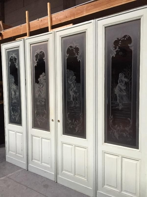 Set of four antiques etched glass doors ´´Four seasons' - DOORS -  ARCHITECTURALS - Set Of Four Antiques Etched Glass Doors ´´Four Seasons' - DOORS