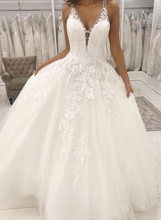 Weißes V-Ausschnitt Spitze Brautkleid, Träger langes Brautkleid – kleider – Ich Folge