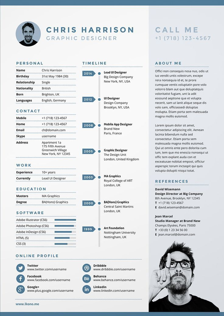 Resume With Picture Template 7Cdb9A5Ee500F435842541777A8313B4Freecvtemplateinfographiccv
