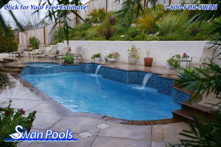 Pools with retaining wall with waterfall stucco for Pool design retaining wall
