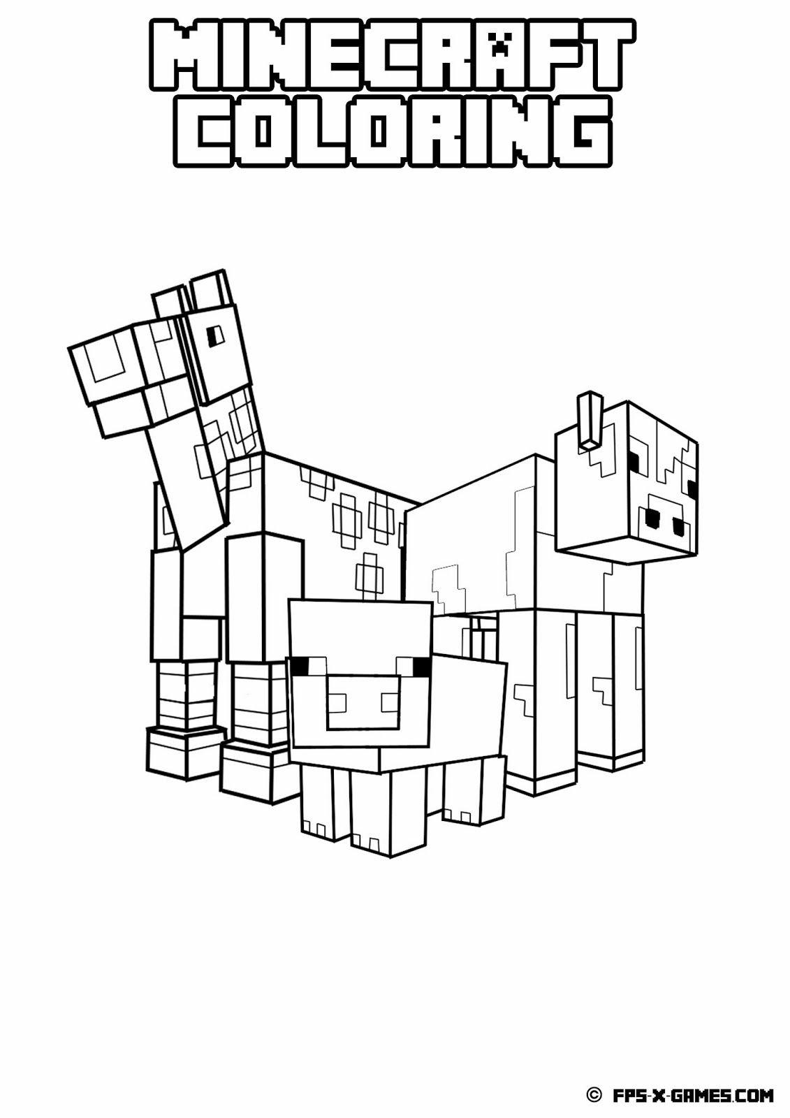 Ausmalbilder Minecraft Geburtstag : Printable Minecraft Coloring Animals Minecraft Unplugged