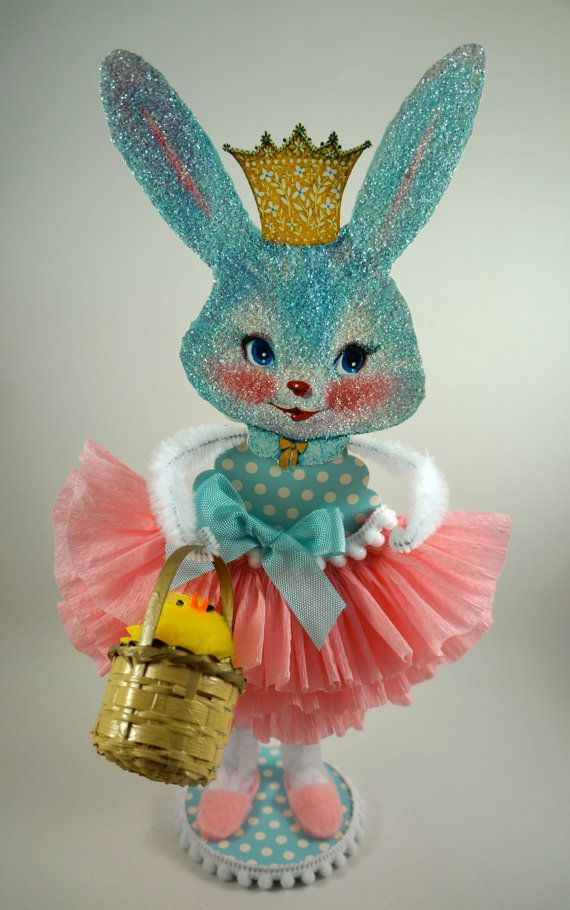 Retro Blue Easter Bunny Decoration By Sparkleloveswhimsey On Etsy
