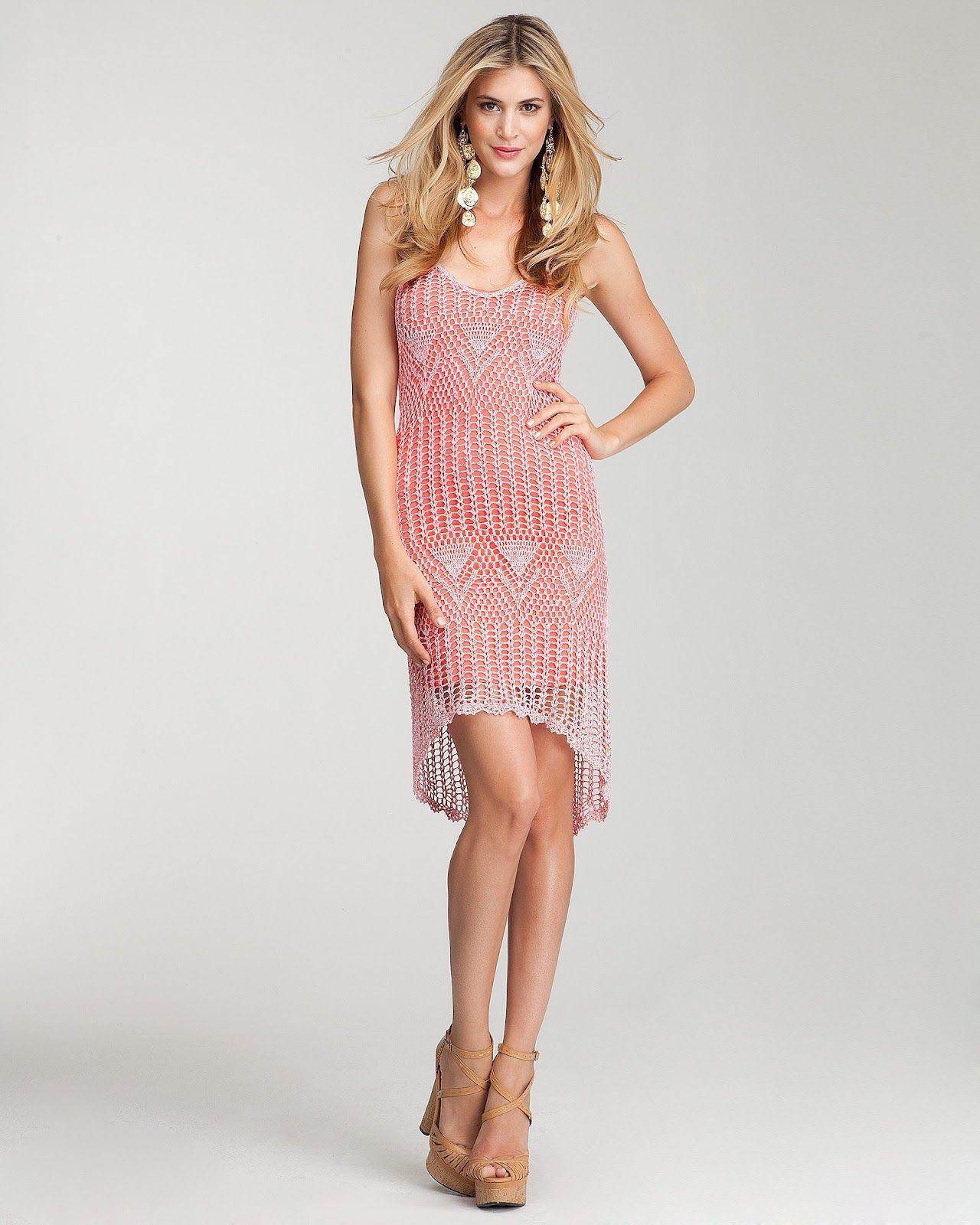 Crochetemoda: Vestido Rosa de Crochet | pareos | Pinterest | Vestido ...