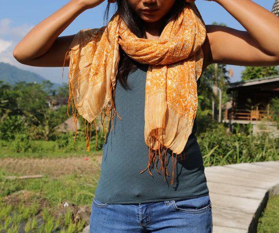 Floral Gold Silk Scarf, Silk Batik Scarf