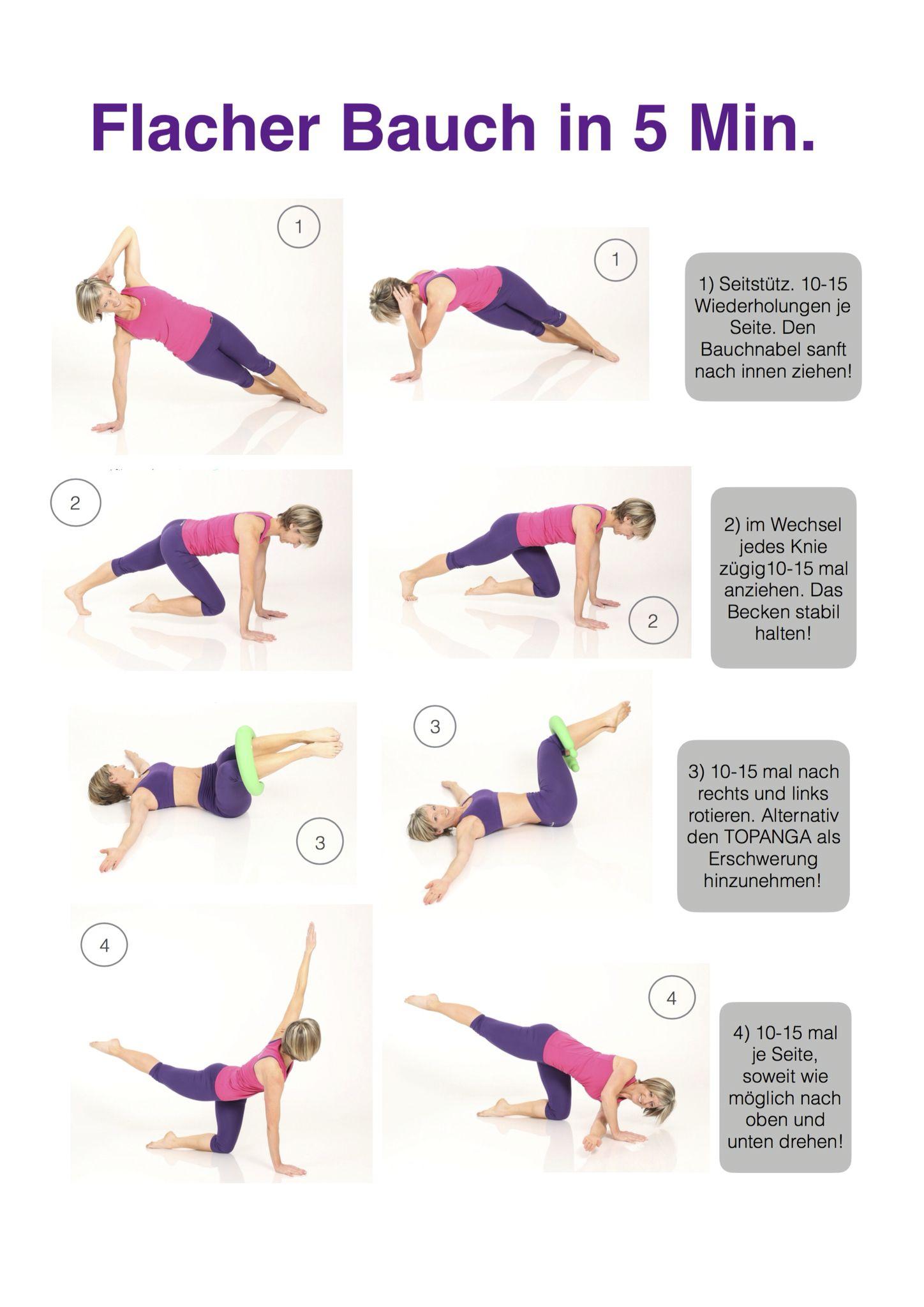 Flacher Bauch In 5 Minuten Pro Tag Bikini Fit Pinterest Flacher Bauch Und Bauch