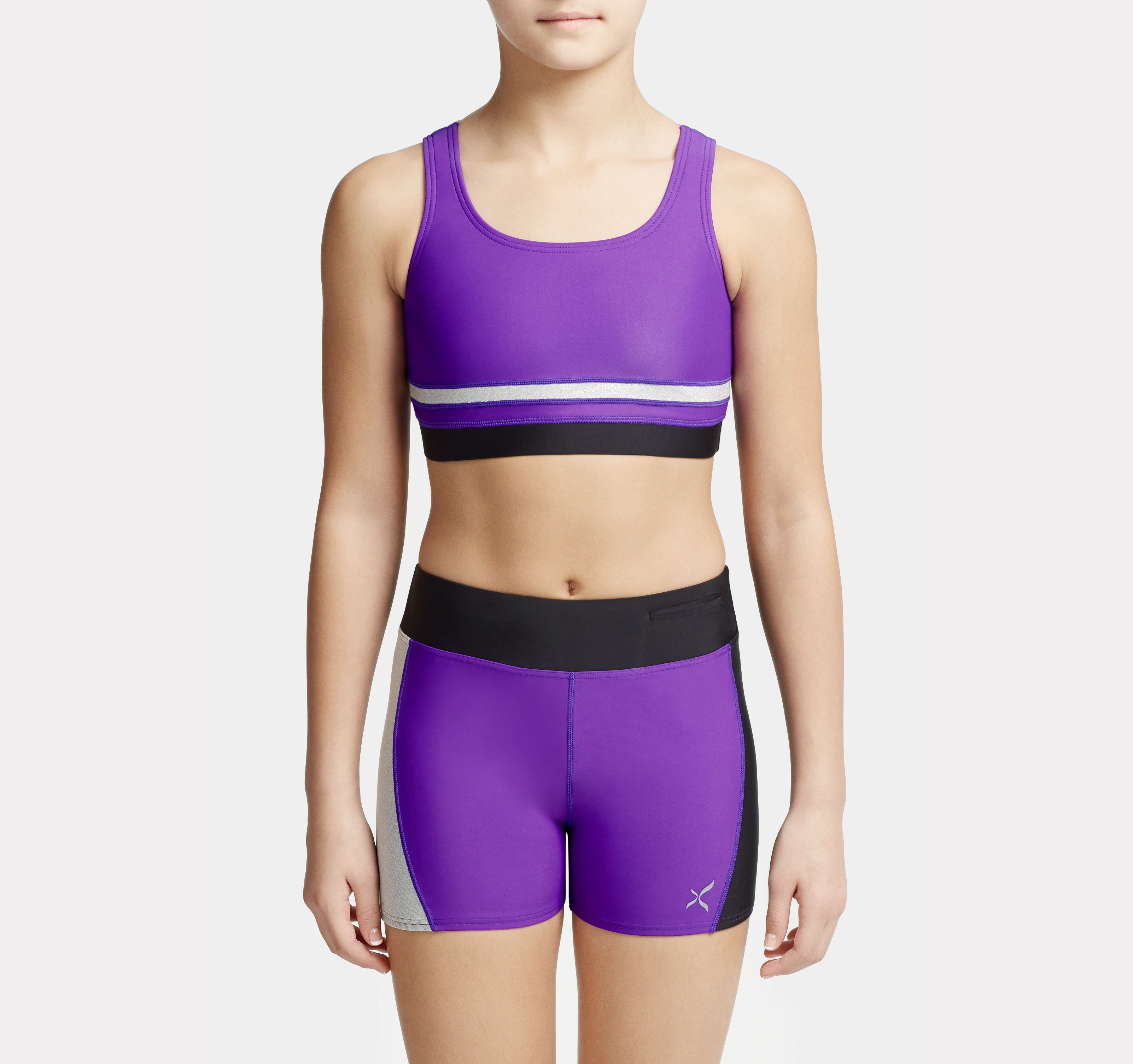 Kids Stick the Landing Racerback Bra Top and Shorts in Purple-Black-Silver  combo by Capezio  11067C-11068C 7afd459e353