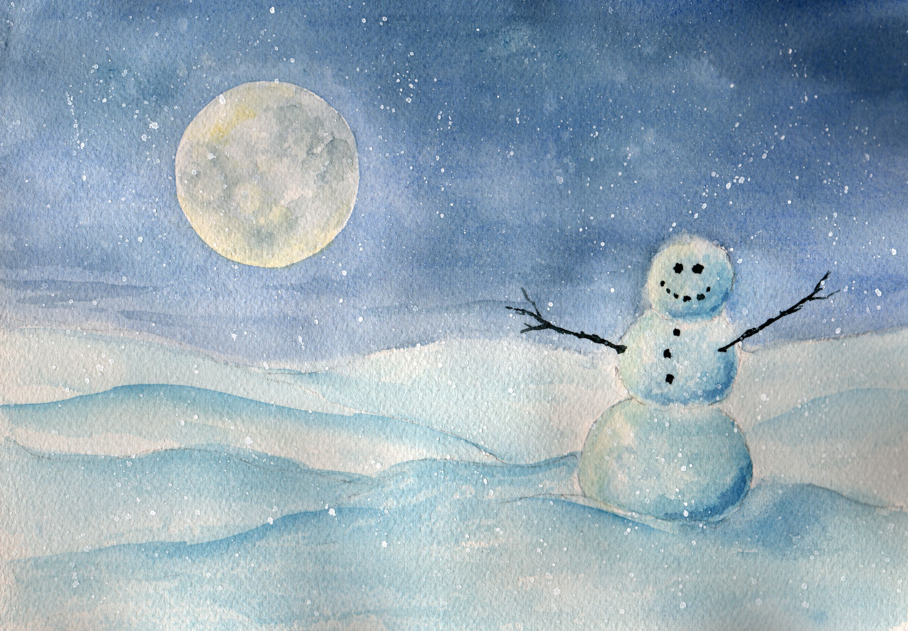 """Snowman at Night"", 7"" x 10"" watercolor by Peggy Markham"