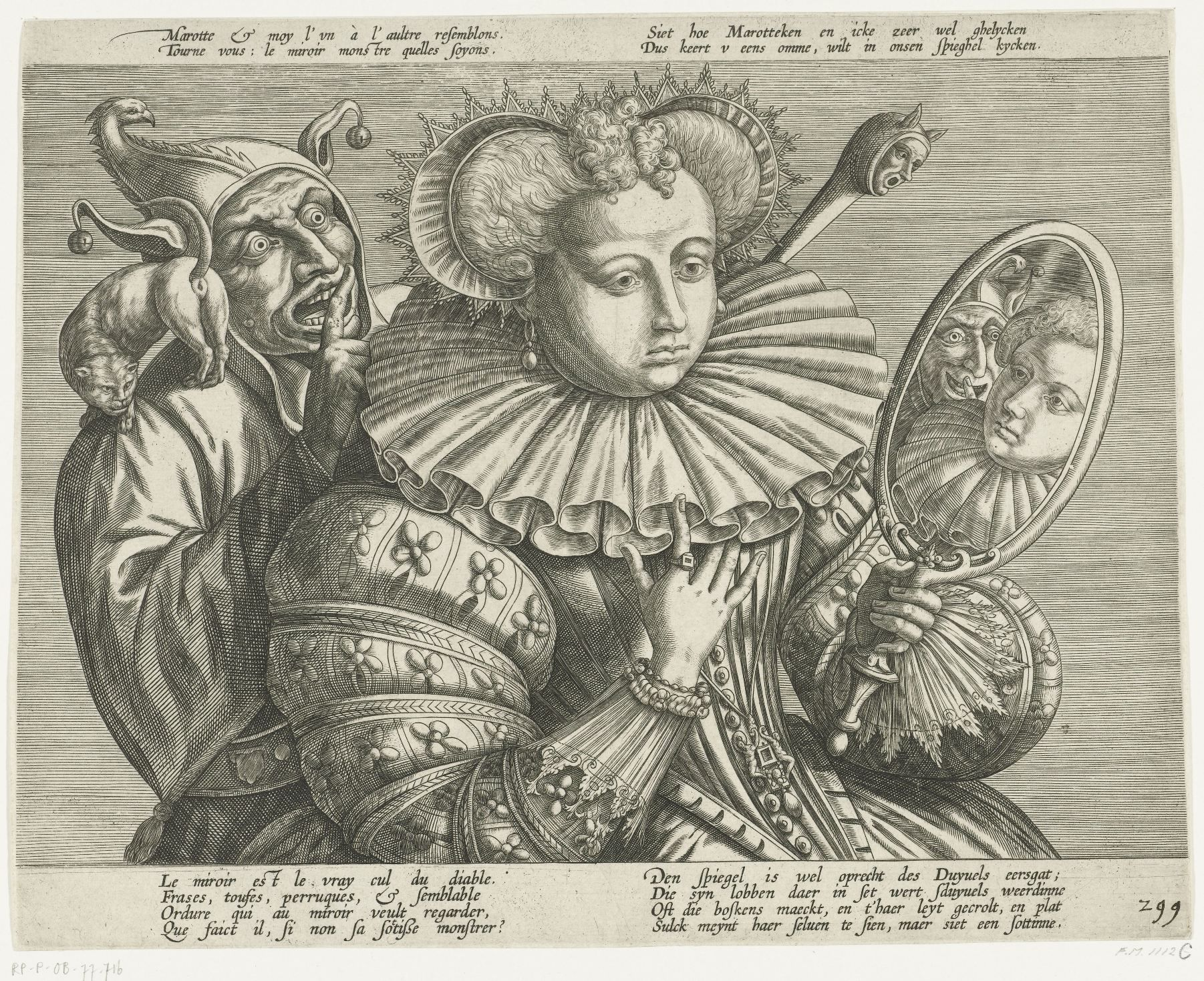 """anonymous Netherlandish engraver, c.1600. Rijksmuseum, RP-P-OB-77.716 Of the bilingual French/Dutch text, it is the Dutch that is the more informative. The quatrain (lower right) in trans: """"The mirror is truly the Devil's arsehole. She who sets her ruff in it becomes the Devil's hostess... She thinks she is seeing herself but it is a fool she is really looking at"""""""