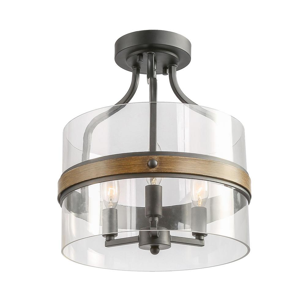 Lnc 3 Light Corta 12 In Black Semi Flush Mount A03502 Semi