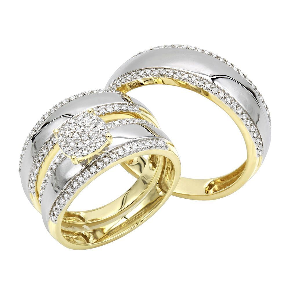 Luxurman 10K Gold Engagement His and Hers Trio Diamond