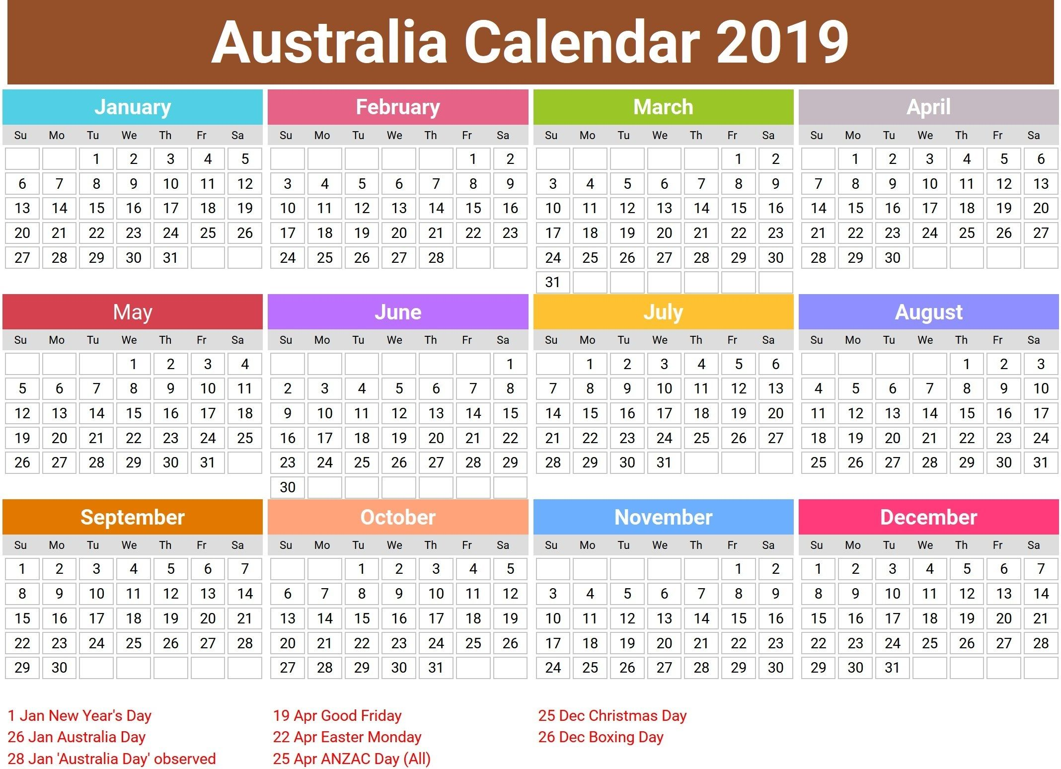2019 Australian Calendar australia 2019 calendar with holidays | 2019 Calendars | Printable
