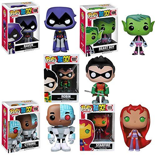 Funko pop set of 5 teen tians go beast boy robin starfire