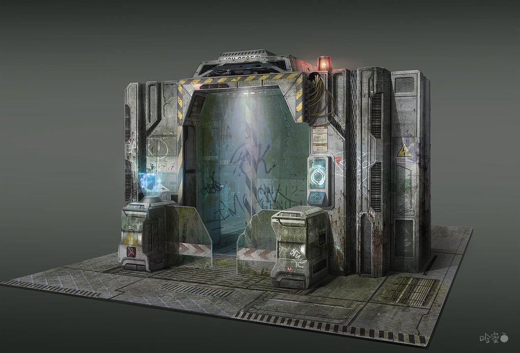 fps sf military base gate concept desgin by ha min sci fi building prop pinterest sci. Black Bedroom Furniture Sets. Home Design Ideas