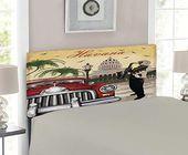 Lunarable Havana Headboard Saxophone Playing Gentlemen Wearing Panama Hats and