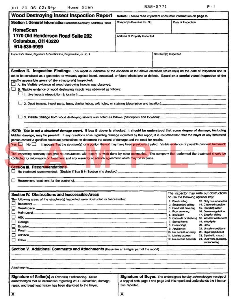 Termite Inspection Sample Termite Inspection Report Inside Pest Control Inspection Report Template 1 Report Template Termite Inspection Electrical Inspection
